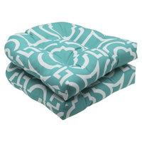 Pillow Perfect Outdoor 2-Piece Wicker Seat Cushion Set - Blue Green/White Carmody
