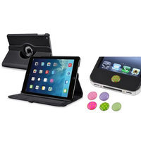 Insten INSTEN Black 360 Rotating Stand Leather Case Cover+Sticker For Apple iPad Air 5 5th Gen