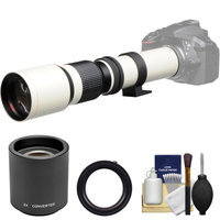 Vivitar 500mm f/8.0 Telephoto Lens (T Mount) (White) with 2x Teleconverter (=1000mm) + Kit for Canon EOS 6D, 70D, 7D, 5DS, 5D Mark II III, Rebel T5, T5i, T6i, T6s, SL1 Camera with VIVITAR USA Warranty