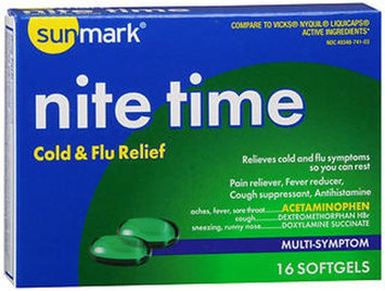 Sunmark Nite Time Cold Flu Relief Softgels, 16 Caps by Sunmark