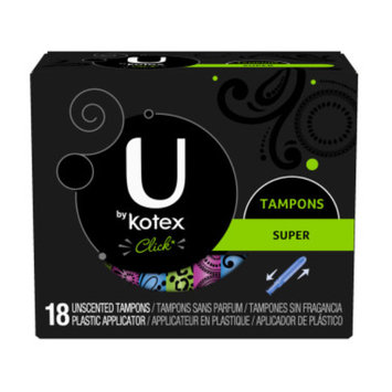 U by Kotex Click Super Unscented Tampons, 18 ct