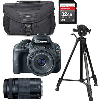 Canon Black EOS Rebel SL1 World's Smallest Digital SLR Camera, Includes 18-55mm Lens with Additional Lens, Memory Card, Bag and Tripod Value Bundle