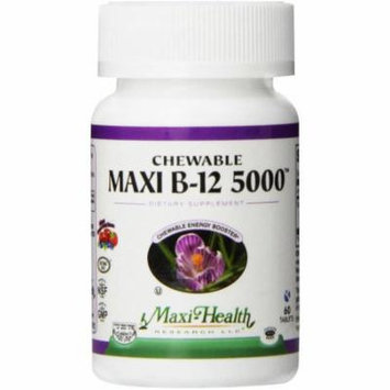 Maxi-Health Maxi B-12 5000 Chewable Vitamins, Engergy Booster, Kosher, 60 CT