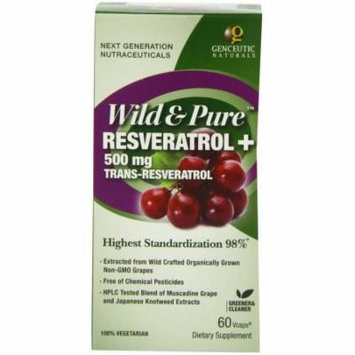 Genceutic Naturals Wild & Pure Resveratrol 500mgTrans, Vegetarian Capsules, 60 CT