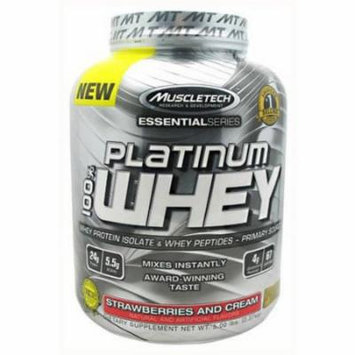 MuscleTech 100% Platinum Whey, Strawberries and Cream, 5 LB