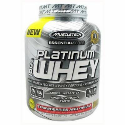 MuscleTech 100% Platinum Whey, Strawberries and Cream, 5 LB