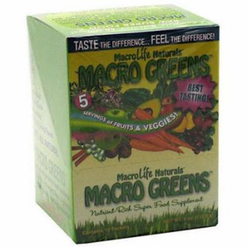 Macro Life Naturals Macro Greens Nutrient-Rich Super Food Supplement, 12/4 OZ