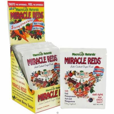 Macro Life Naturals Miracle Reds, Anti-oxidant Super Food Supplement, Great Berry Flavor, 12/.33 OZ