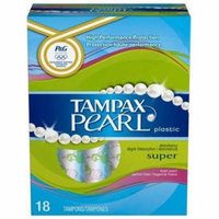 Tampax Pearl Super Fresh Tampons, Plastic, 18 CT (Pack of 6)