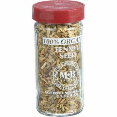 Morton and Bassett 100% Organic Seasoning - Fennel Seed - 1.2 oz - Case of 3