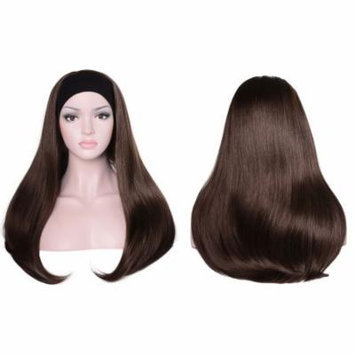 OneDor Mix Long 3/4 Women's Stragiht Hair Wig with Headband (6#-Chestnut Brown)