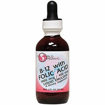 World Organics Liquid B-12 with Folic Acid, 2 OZ