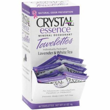 Crystal Essence Mineral Deoderant Towelettes, Lavender and White, 48 CT