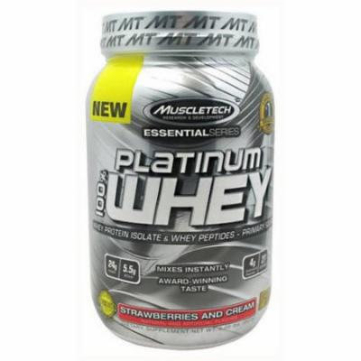 MuscleTech 100% Platinum Whey, Strawberries and Cream, 2 LB