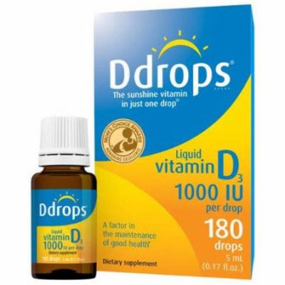 D Drops Vitamin D3 1000iu, 180 Liquid Drops, .17 OZ