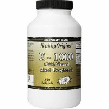 Healthy Origins Vitamin E-1000, Mixed Tocopherols, 100% Natural, 240 CT