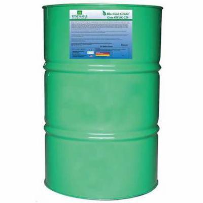 RENEWABLE LUBRICANTS 87256 Food Grade Gear Oil,55 Gal G9927845