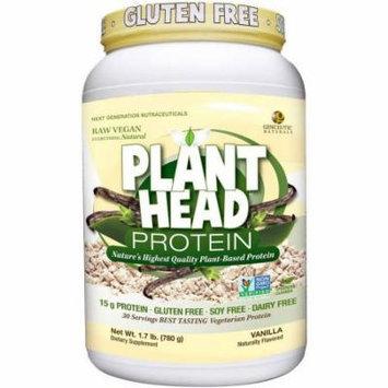 Genceutic Naturals Plant Head Protein Dietary Supplement, Vanilla, 23 OZ