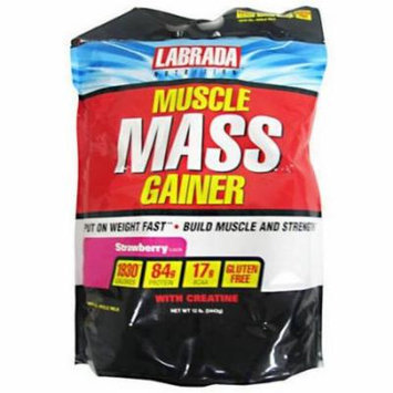 Labrada Nutrition Muscle Mass Gainer, Strawberry, 12 LB
