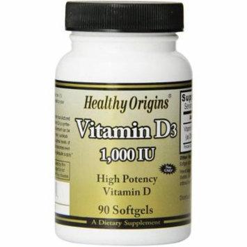 Healthy Origins Vitamin D3, 1000 IU, High Potency, 90 CT (Pack of 2)