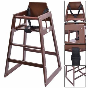 Baby High Chair Wooden Stool Infant Feeding Children Toddler Restaurant Brown