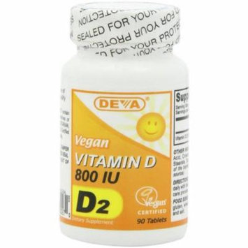 Deva Vitamin D2, 800iu, Vegan, 90 CT (Pack of 2)