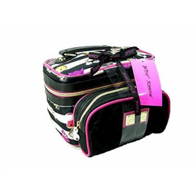 New Betsey Johnson Logo Cosmetics Make-up Bags 2 Piece Train Case Travel Set
