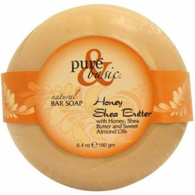 Pure & Basic Natural Bar Soap, Honey Shea Butter, 6.4 OZ (Pack of 6)