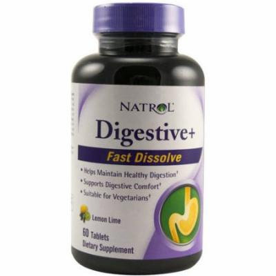 Natrol Digestive+, Fast Dissolve, Tablets, Lemon Lime, 60 CT