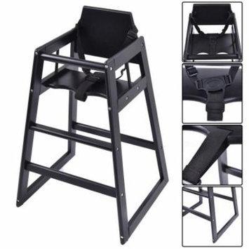 Baby High Chair Wooden Stool Infant Feeding Children Toddler Restaurant Black