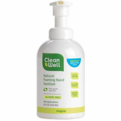 Cleanwell All-natural Foaming Hand Sanitizer, Original Scent, 8 FL OZ (Pack of 2)