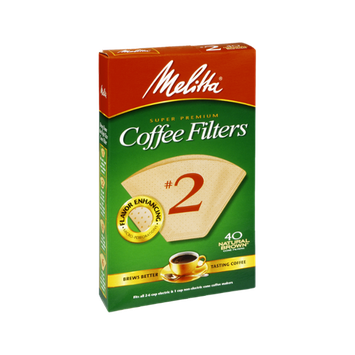 Melitta Super Premium #2 Natural Brown Coffee Filters - 40 CT