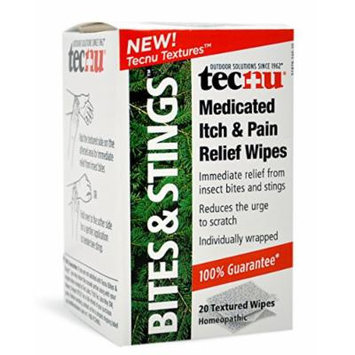 Tecnu Bites and Stings Medicated Itch and Pain Relief Wipes, 20 Count