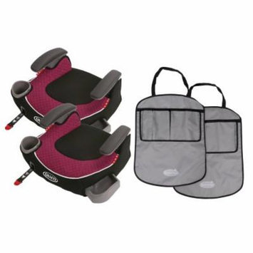 2 Graco Affix Backless Booster Car Seats with Free Kick Mats, Callie