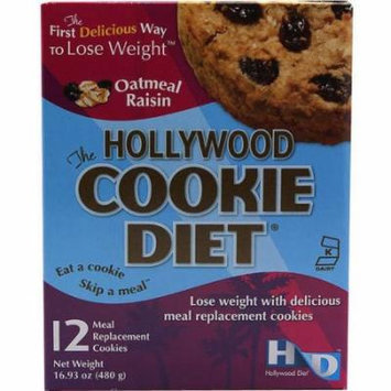 Hollywood Miracle Diet Oatmeal Raisin, Diet Cookie, 12 CT