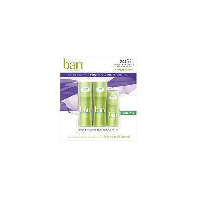 Ban Roll-on Antiperspirant Deodorant, Unscented (3.5 fl. oz., 2 pk & 1.5 fl. oz. Travel Size)