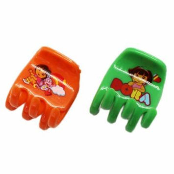 Dora the Explorer Green and Orange Colored Plastic Hair Clips (2 pc)
