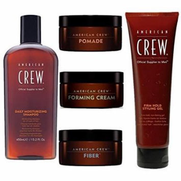 American Crew Men's Kit. Daily Moisturizing Shampoo 15.2 Oz, Pomade 3 Oz, Forming Cream 3 Oz, Fiber 3 Oz and Firm Hold Styling Gel 13.1 Ounce