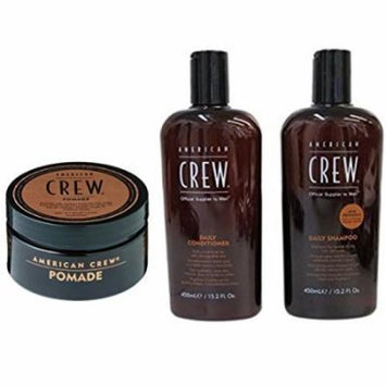 Bundle - 3 items: American Crew Pomade, 3 Oz & Daily Shampoo & Conditioner Duo, 15.2 Oz