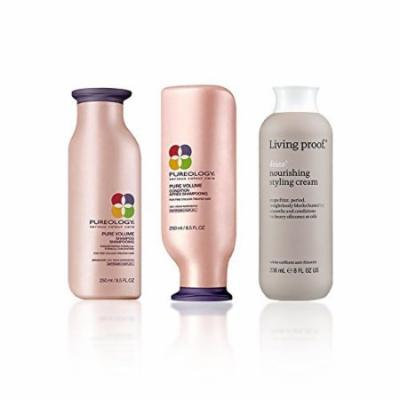 Bundle - 3 items: Pureology PureVolume Shampoo & Conditioner Duo, 8.5 Oz & Living Proof No Frizz Nourishing Styling Cream, 8 Oz