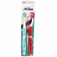 Aim Revolution Tongue Scraper Soft Bristle Toothbrush Pack (2 Toothbrushes, Random Colors)