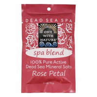 One With Nature - 100% Pure Active Dead Sea Minerals Salts Spa Blend Rose Petal - 2.5 oz.