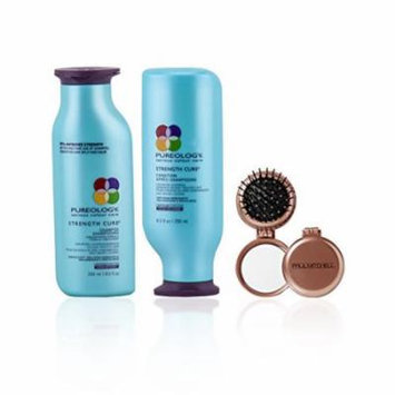 Bundle- 3 Items: Pureology Strength Cure Shampoo & Conditioner Duo, 8.5 oz & a Paul Mitchell Compact Mirror & Brush