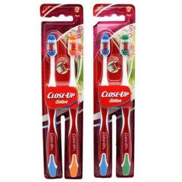 Close-Up Active Medium Bristle Toothbrush Pack (2 Toothbrushes, Random Colors)