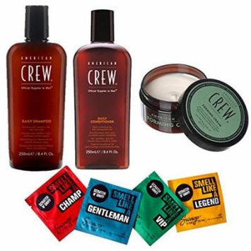 Bundle - 7 items: American Crew Pomade, 3 Oz & Daily Shampoo & Conditioner Duo, 15.2 Oz & Swago Cologne Wipe Sample , 4 Pack