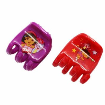 Dora the Explorer Red and Purple Colored Plastic Hair Clips (2 pc)