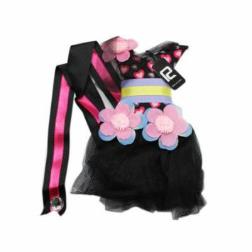 Black Colored Dress Design Hair Bow Holder With Pink and Blue Flowers