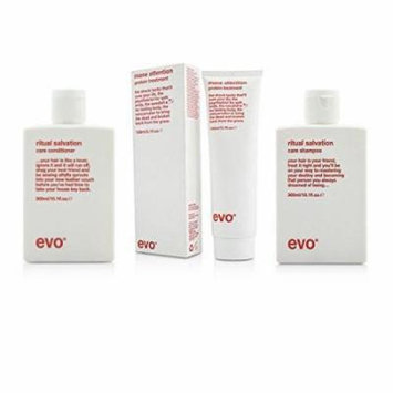 Bundle - 3 items: Evo Ritual Salvation Shampoo & Conditioner Duo, 10.1 Oz & Mane Attention Protein Hair Treatment, 5.1 Oz