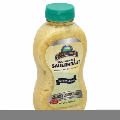 SCONNIE FOODS SAURKRT SQUEEZE SPICY MUSTARD, 11 OZ (Pack of 12)