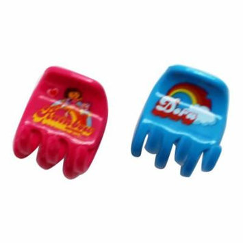 Dora the Explorer Pink and Light Blue Colored Plastic Hair Clips (2 pc)